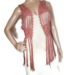 Daytrip dusty rose boho crocheted vest with fringe